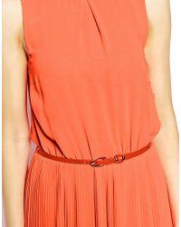 Oasis - Orange Plaid Neck Pleat Maxi Dress - Lyst