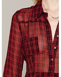 Free People | Red Lou Buttondown Dress | Lyst