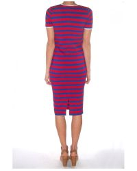 Harvey Faircloth - Blue Stripe Fitted T-Shirt Dress - Lyst