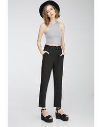 Forever 21 - Black Pleated Slim-leg Trousers - Lyst