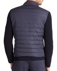 Eleventy | Blue Knit-sleeve Quilted Down Jacket for Men | Lyst