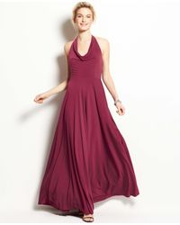 Ann Taylor - Red Jersey Cowl Neck Halter Gown - Lyst