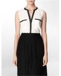 Calvin Klein - Black White Label Faux Leather Trim Button Front Sleeveless Top - Lyst