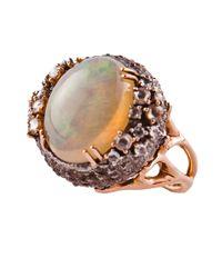 Federica Rettore - Metallic Opal And Diamond Sea Urchin Ring - Lyst