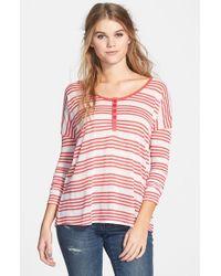 Volcom - Pink 'day Maker' Stripe Henley - Lyst