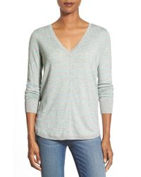 Caslon | Blue High/low V-neck Sweater | Lyst