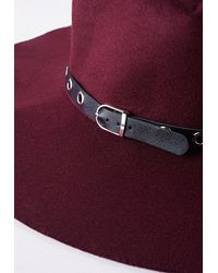Missguided - Purple Fedora Hat Metal Trim Burgundy - Lyst
