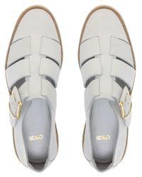 ASOS - White Asos Mason Leather Strap Flat Shoes - Lyst