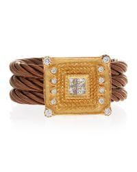 Charriol - Metallic Diamond Square-Face Ring - Lyst