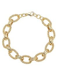 Lord & Taylor | Metallic 14kt. Yellow Gold Textured Link Bracelet | Lyst