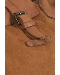 TOPSHOP - Brown Washed Canvas And Leather Bag - Lyst