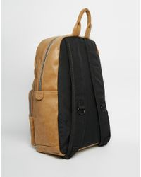 ASOS - Brown Backpack In Camel Faux Leather for Men - Lyst