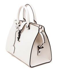 Saint Laurent | White Medium Leather Monogram Cabas Bag | Lyst