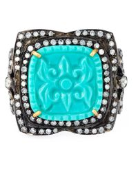 Gemco | Metallic Turquoise And Diamond Cocktail Ring | Lyst