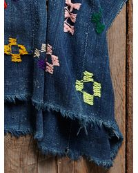 Free People - Blue Womens Vintage Embroidered Indigo Poncho - Lyst