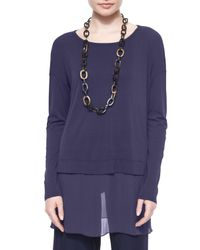 Eileen Fisher | Blue Silk Jersey Layered Boxy Tunic | Lyst