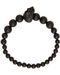 Alexander McQueen - Black Beaded Skull Bracelet for Men - Lyst