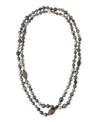 Sheryl Lowe | Multicolor Tahitian Pearl & Pave Diamond Long Necklace | Lyst