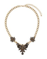 Mikey | Black Flower Crystal Pendant Chain Necklace | Lyst