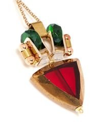 Scho | Red Triangle Glass Bead Drop Earrings | Lyst