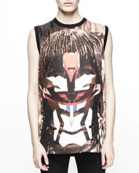 Givenchy - Black Printed Silk Muscle Tank for Men - Lyst