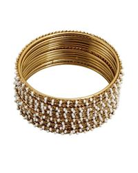 Chamak by Priya Kakkar | Metallic Set Of 12 Gold And White Thin Beaded Bangles | Lyst