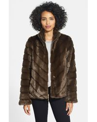 Ellen Tracy | Brown Grooved Faux Mink Jacket | Lyst