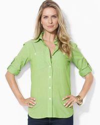Ralph Lauren | Green Roll Sleeve Shirt | Lyst