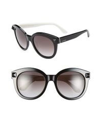 Valentino | Black 'rockstud' 54mm Semi Oval Cat Eye Sunglasses | Lyst