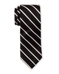 Isaac Mizrahi New York | Black Fine Stripe Tie for Men | Lyst