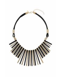 TOPSHOP - Black Resin Spike Drop Necklace - Lyst