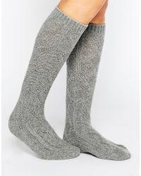 Vero Moda | Gray Chunky Cable Knit Socks | Lyst
