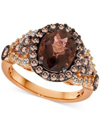 Le Vian | Brown Chocolate Quartz (2-3/4 C.t. T.w.) And White Sapphire (1/3 C.t. T.w.) Ring In 14k Strawberry Rose Gold. | Lyst