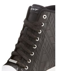 DKNY - Black Grommet Zip Wedge Sneaker - Lyst