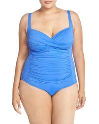 La Blanca | Blue Ruched One-piece Swimsuit | Lyst