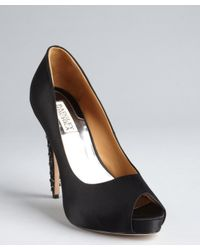 Badgley Mischka | Black Satin Crystal and Chain Embellished Vixen Pumps | Lyst