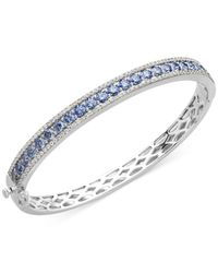 Arabella | Metallic Sterling Silver Blue And White Swarovski Zirconia Bangle Bracelet (9-1/3 Ct. T.w.) | Lyst
