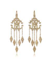 Roberto Cavalli - Metallic Rc Luxe Gold Metal Earrings W/crystals - Lyst