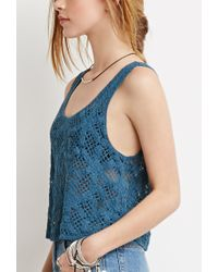 Forever 21 - Blue Floral Crochet Crop Top - Lyst