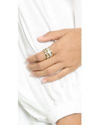 Michael Kors - Metallic Pave & Baguette Barrel Ring - Gold/Clear/Topaz - Lyst