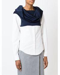 Jacquemus - Blue Cowl Neck Contrast Shirt - Lyst