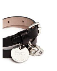 Alexander McQueen | Black Skull Charm Double Wrap Leather Bracelet | Lyst