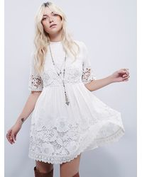 Free People | Natural Amelie Mini Dress | Lyst
