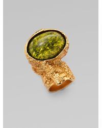 Saint Laurent - Green Goldtone Arty Ovale Ring for Men - Lyst