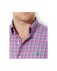Polo Ralph Lauren - Pink Plaid Oxford Shirt for Men - Lyst