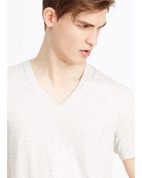 Vince - White Jaspé Jersey Short Sleeve V-neck Tee for Men - Lyst