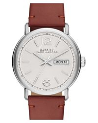 Marc By Marc Jacobs - Metallic 'fergus' Leather Strap Watch for Men - Lyst