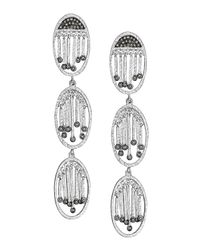Coomi | Metallic Spring Silver Three-oval Diamond Earrings | Lyst