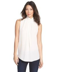 Ellen Tracy - White Stand Collar Pleat Front Shell - Lyst