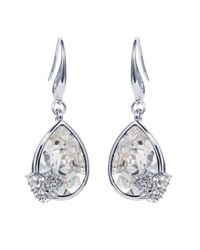 Caroline Creba - Metallic Rhodium Plated Titania Pear Cut Earrings - Lyst